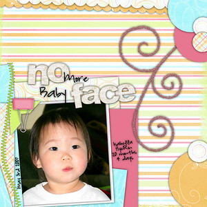 05-03-2007 Isabella 20 months 4 days      NO MORE BABY FACE   Teresa Ferguson/Cindy Schneider Free Template/Sketch   Dani Mogstad/Shawna Clingerman Year of Memories (May Kit)  No Face letters are DDE Circle Of Friends Collection 2 Alpha Essentials  Font is Highland Perk