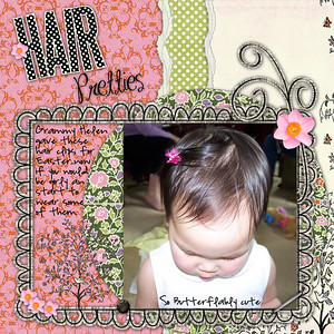Bella's Hair Pretties   If we could only get her to keep them in =) *************************** Teresa Ferguson's Footloose & Fancy Free Kit Photo frame & swirl are Robin Carlton See Spot Run Paper tear is atomic cupcake action Font Title is MA Sexy & Journaling is Highland Park