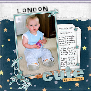 Our Nephew London...about 14 months old ********************************** Night Owls Kit by Robin Carlton & Manda Bean Orange ribbon/bow is from Michelle Underwood Child's Play kit Cute as a Button is Robin Carlton Title Template Stitching is from Miss Mint Spring Jelly Bean Kit Fonts (Title) is Spacesuit & Journaling is Highland Perk Paper Tear action is Atomic Cupcake