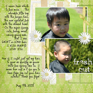 As soon as I took the photos I knew what kit I wanted to use!!!! (Literally before and after pictures) **************** Bree Clarkson Inspired by Karen (hom74), rotated & added a photo. kristen cronin barrow fresh cut Font: CK Ali Edwards font