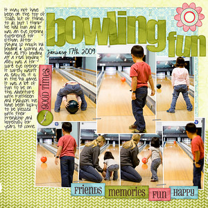 01-17-09 (17/365) Bowling Fun    Bree Clarson 365 wk 2 template, SSD CT thank you kit Happy Heart, Date font: CK Ali Edwards Journaling font: Pea sdflenner
