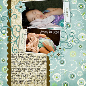 1-6-09 SLEEPING   Bree Clarkson Collection# 23, LO# 119  Manda Bean, Eva Kipler, & ScrapKitchen Designs Organically Yours kit   Date font: CK Ali Edwards   Journaling font: Pea sdflenner