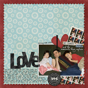 1-26-09 Todd, Ethan & Isabella laying on the couch   Bree Clarkson borderline: simple (outer scalloped edge)   julie billingsly misty cato shutterbug  Zoe Pearn Winter Wishes (stitches)  Date font: CK Ali Edwards   journaling font: pea sdflenner