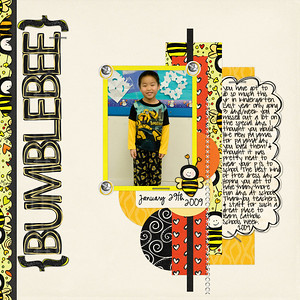 1-29-09  Bumblebee    Bree Clarkson Inspired by Amy (Feb 09) Lauren Grier & Mandabean Bumble bee mine, date font: CK Ali Edwards   Journaling font: Pea sdflenner