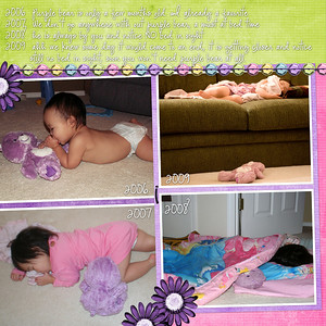 6-15-09 Isabella and her purple bear, from beginning to now!  Bree Clarkson Solitaire# 8 (mixed up), Melissa Bennett Katrina, Font: CK Ali Edwards