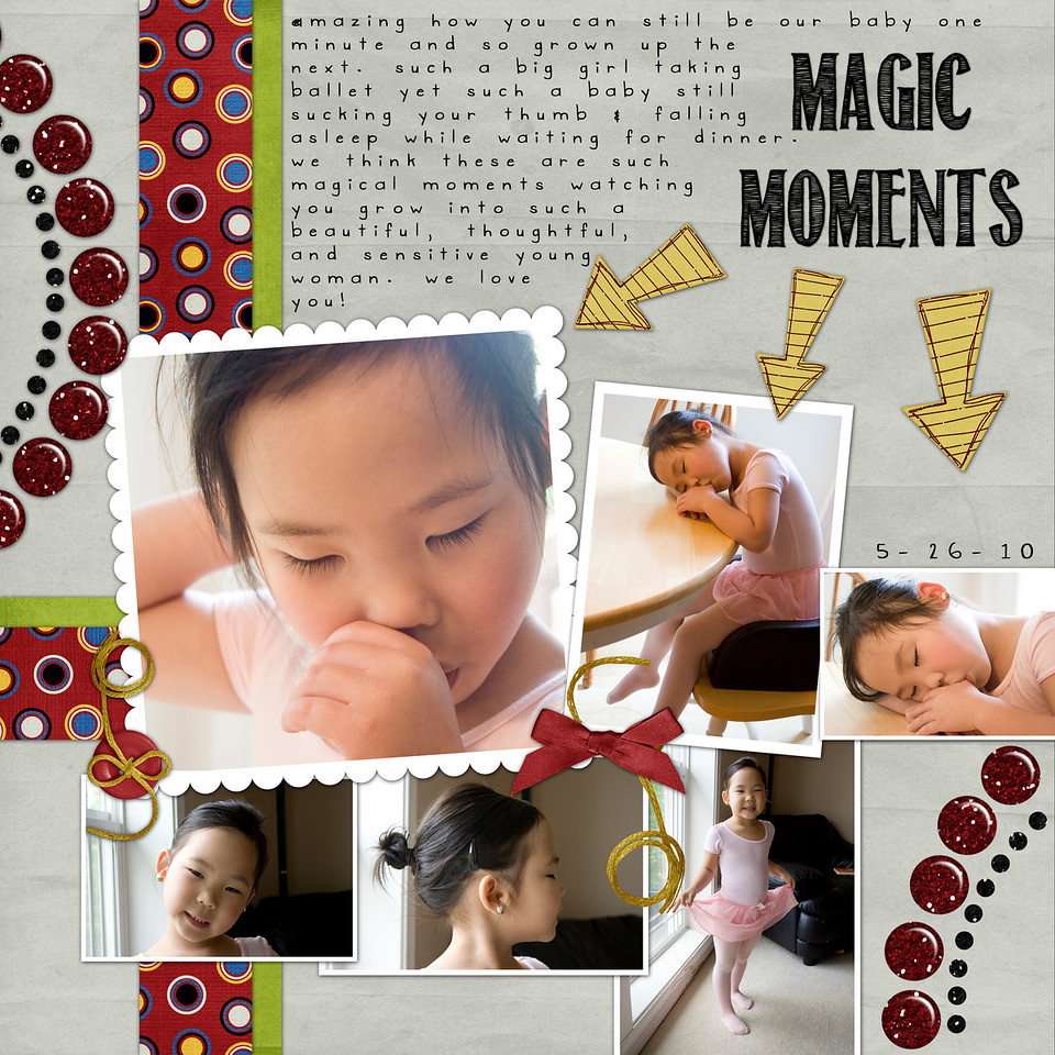5-26-10 Isabella falling asleep while waiting for dinner<br /> Laurie's Scrap & Designs Template Set 3 & Magic Moments kit<br /> font: Return to Sender (title) & Gimme Space (journaling)