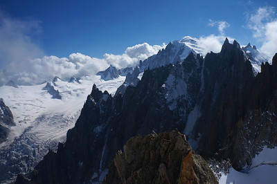 A Grepon summit view of Mont Blanc, the Aguilles du Midi and the Aiguilles du Chamonix