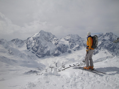 Here's a view from the top of Sulden's ski lifts looking towards the Gran Zebru or Konigsptize - a steep and much sought after ski mountaineering objective.