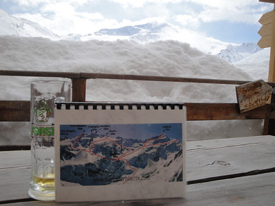 View from the deck where we had our post-ski beer. The map shows all the good ski descents from the hut