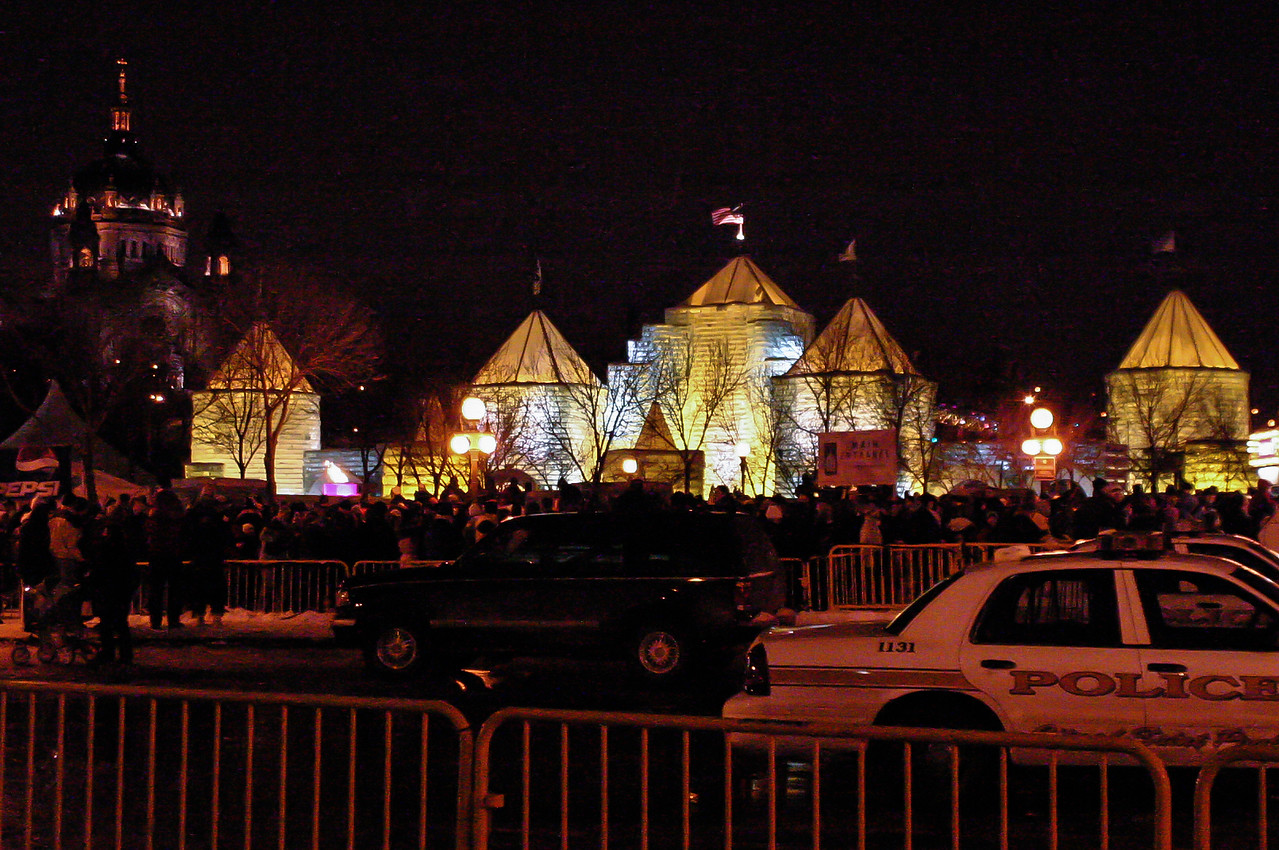 St. Paul Ice Palace that sat in front of the current Xcel Energy Center - St. Paul Cathedral is in the background on the left