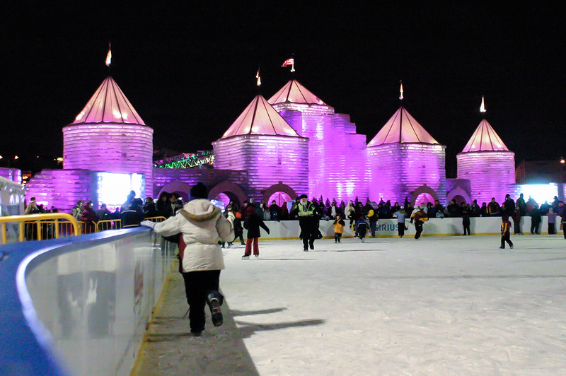 An ice rink sat in front of the palace with a stage in the back