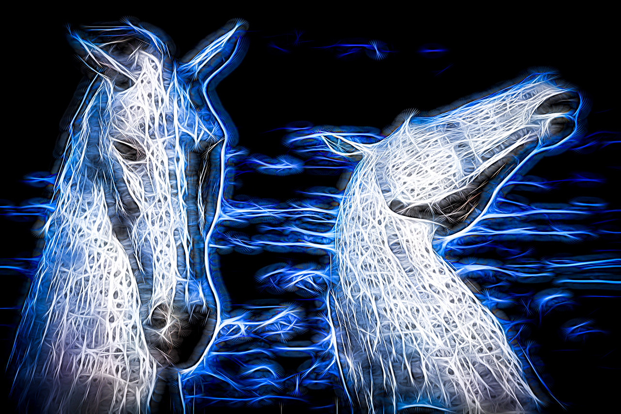 Falkirk Kelpies converted to fractal art