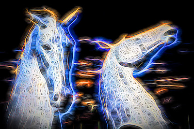 Falkirk Kelpies converted to fractal art with colour