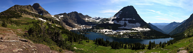 "Hidden Lake <br /> A wide panoramic photo of Hidden Lake in Glacier National Park, Montana.<br /> Purchase this photo at the top right by clicking ""buy"".<br /> 1x3 panoramic format<br /> 30""x90"" Max printing size.<br /> Displayed at 12""x36"""