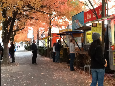 Food Court, Autumn Food carts in Portland, Oregon Alder St. at SW Alder between 9th and 11th