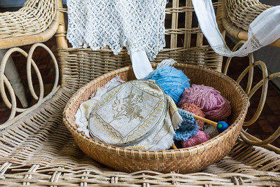 Basket of Embroidery and Knitting