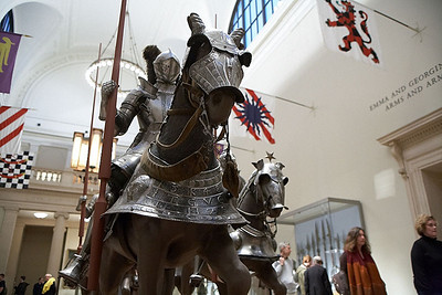 Mounted knights in the Arms and Armor exhibit at the Metropolitan.