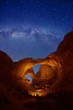 Double Arch, and Milky Way stars - Arches National Park
