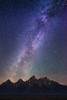 Milky Way stars over Grand Teton Mountain Range, Grand Teton National Park
