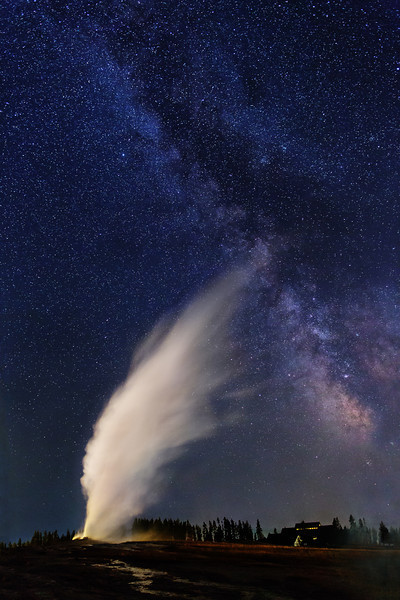 Milky Way over Old Faithful