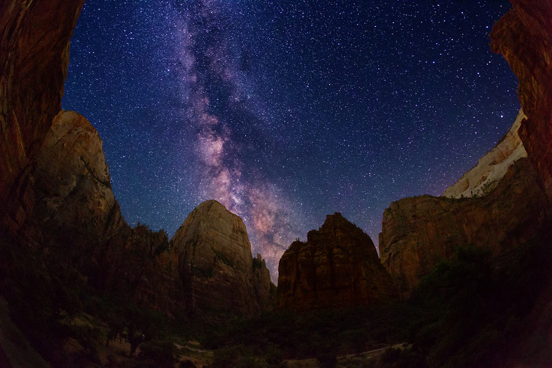 Milky Way stars over The Great White Throne, The Organ, and Angels Landing -- all from the bottom Zion Canyon, at the Big Bend turn in Zion National Park.