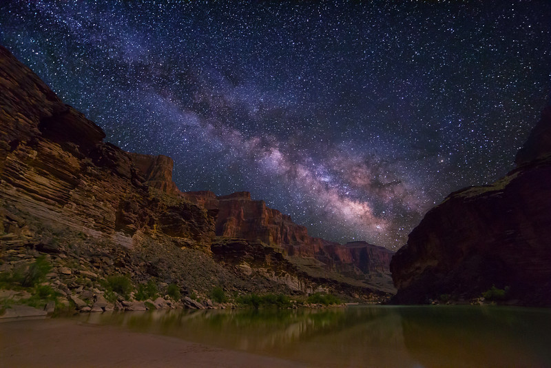 Milky Way spanning over Grand Canyon and Colorado River