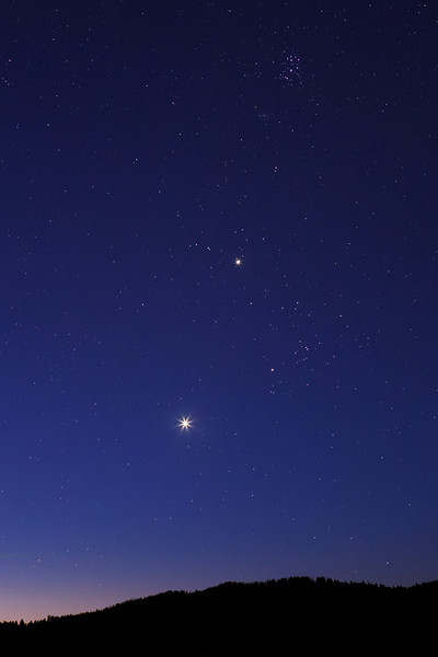 Morning twilight: showing Venus and Jupiter within the constellation Taurus -- almost due East from the Elk Ranch Flats Turnout in Grand Teton National Park (on July 18, 2012 - 4:19 AM - about two hours before sunrise).