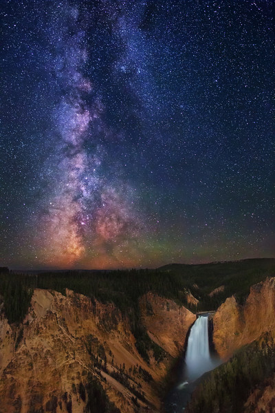 Stars over Yellowstone Falls