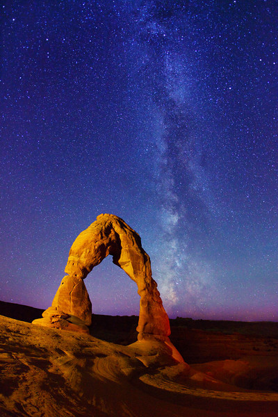 Delicate Arch, and Milky Way stars - Arches National Park