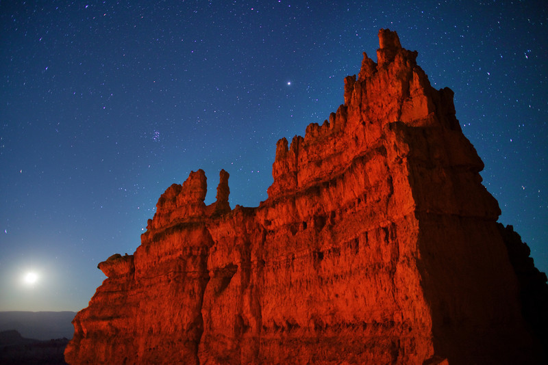 Moonrise at the Fortress - a Bryce Canyon National Park formation - Note Pleiades and Jupiter