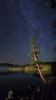Starry Night over alpine lake
