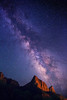 Milky Way over The Watchman, Zion National Park. This starry night sky was taken from the South Campground of Zion NP. The right side of the mountain is illuminated by the reflected lights coming from the town of Springdale, a few miles away.