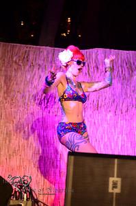 Retro Diva Fashion Show on the main stage at Tiki Oasis on Friday night. Tata the Tattooed Lady