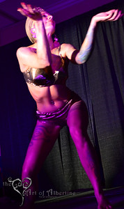 Tana the Tattooed Lady performing at Midnight at Tiki Oasis: Femme Fatale Follies - Burlesque show at Tiki Oasis on Friday night