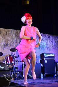 Retro Diva Fashion Show on the main stage at Tiki Oasis on Friday night. Tana the Tattooed Lady