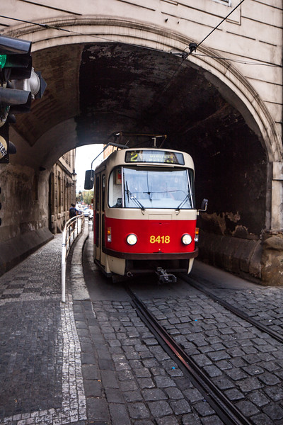 Older tram passing through
