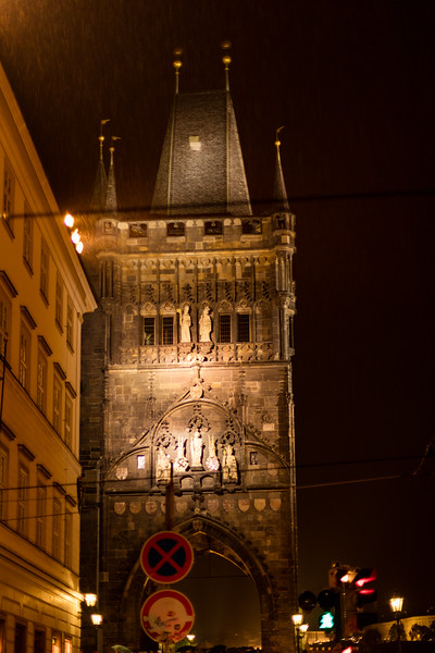 Charles Bridge on a rainy night