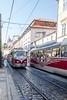 Old trams pass on Letenská, Praha 1