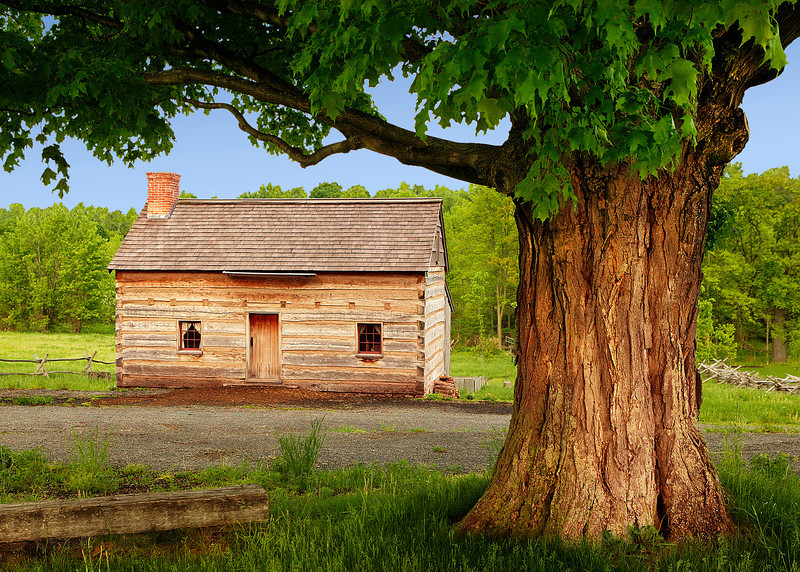"Smith Cabin (restoration) - where Joseph Smith lived in 1820 (near Palmyra, NY). The Sacred Grove is behind cabin. Large Sugar Maple tree was alive before original cabin. To ORDER custom size prints of this image (takes one to two weeks), click on the ""Buy"" above this image (choose ""This Photo"" from the drop-down menu). You have your choice of glossy, luster, and metallic photographic paper prints, <a href=""http://www.smugmug.com/prints/giclee-canvas-watercolor"">Giclée Watercolor</a> prints, <a href=""http://www.smugmug.com/prints/giclee-canvas-watercolor"">Giclée Canvas</a> prints, <a href=""http://www.smugmug.com/prints/thinwraps"">ThinWraps</a> prints, and <a href=""http://www.smugmug.com/prints/metalprints"">Metal</a> prints. All custom prints are made by the professional people at <a href=""http://bayphoto.com/"" target=""_blank"">Bay Photo Lab</a>, and shipped directly to you."