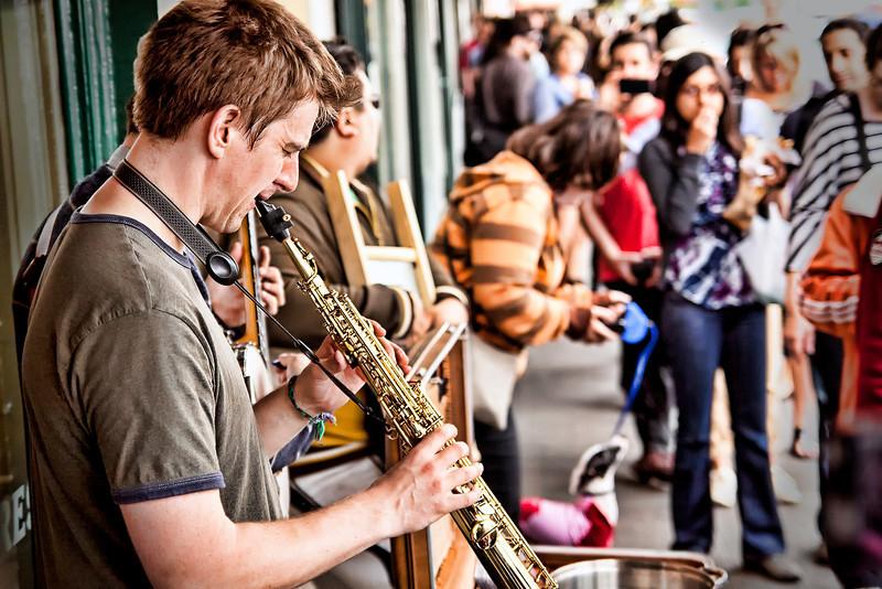 Music outside the Original Starbucks at Seattles Pikes Market