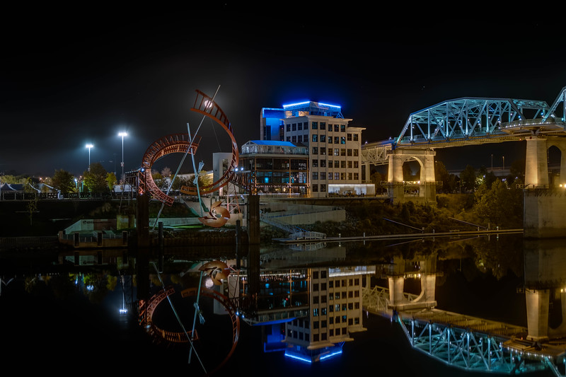 Nashville Riverfront Bridge Building at night