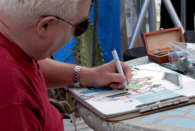 Sonny Derin, a good friend of the band and a righteous harp player, sketching the band while they play.  Sonny heads up the band Mystery Train.