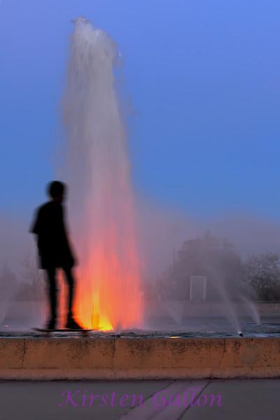 The fountain in Balboa Park at dusk.
