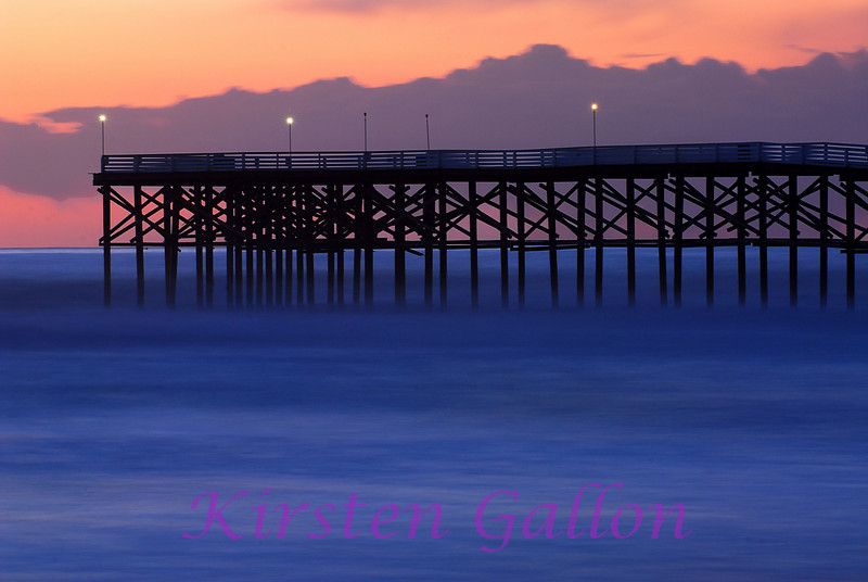 Crystal Pier in Pacific Beach. This photo was a 30 second exposure in order to get the water to be smooth and frothy. The lighting was after the sun had set so I got the nice purples and oranges in the sky.