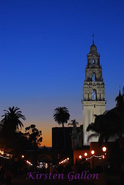 Balboa Park at dusk.