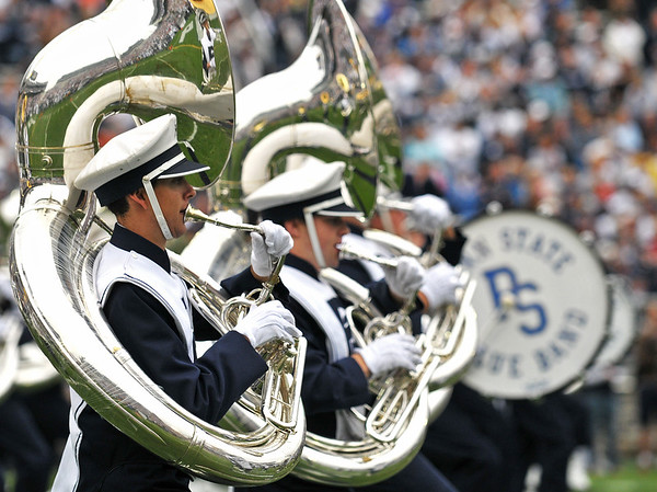 Collegian Photo By: Jimmy Dever Members of the Blue Band perform before Saturday's victory over Syracuse.