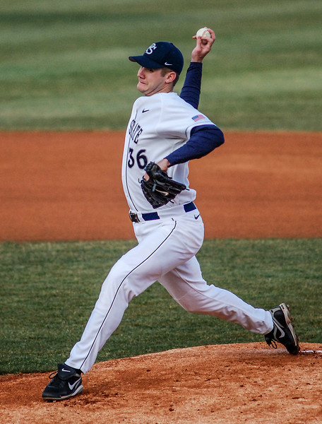 Collegian Photo By: Jimmy Dever Penn State pitcher Paul Cianciolo throws the opening pitch Tuesday night against Bucknell