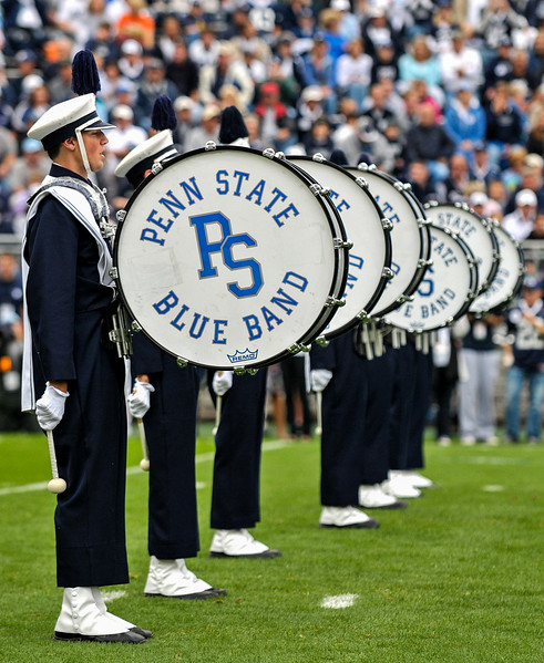Collegian Photo By: Jimmy Dever Members of the Blue Band perform before Saturday's victory over Syracuse