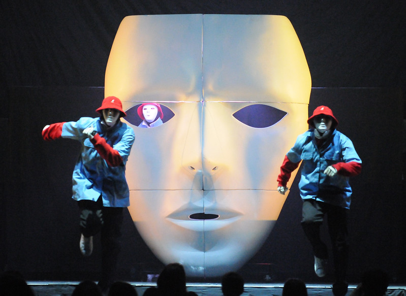 Collegian Photo By: Jimmy Dever Jabbawockeez opens for New Kids on the Block Tuesday night in the Bryce Jordan Center