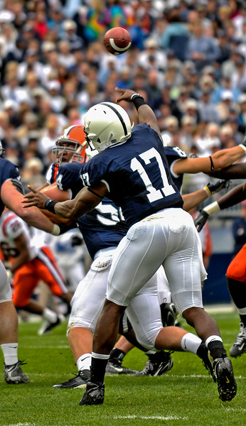 Collegian Photo By: Jimmy Dever Daryll Clark passes the football during Saturday's victory over Syracuse.